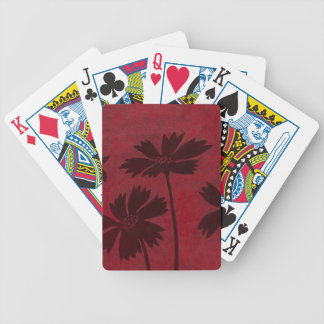Flowerhead Silhouettes on Crimson Background Bicycle Playing Cards