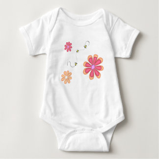 Flowers and Bees Baby Bodysuit