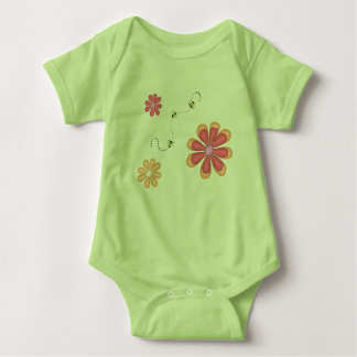 Flowers and Bees on Lime Baby Bodysuit