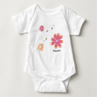 Flowers and Bees with Name Baby Bodysuit