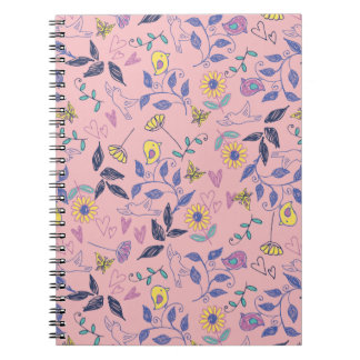Flowers and Birds Doodles Photo Notebook