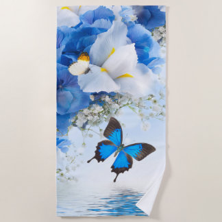 Flowers and Butterflies Beach Towel