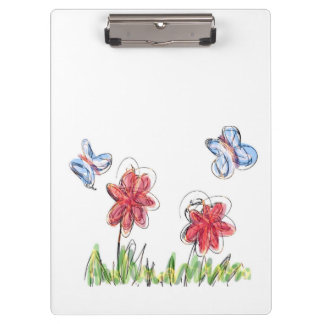 Flowers and butterfly drawing clipboard