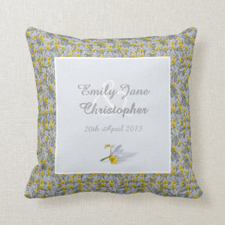 Flowers and horseshoes anniversary throw pillow