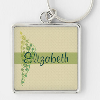 Flowers and Vines and Your Name Key Ring
