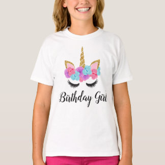 Flowers Gold Magical Unicorn Birthday Girl T-Shirt