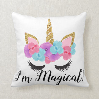 Flowers Gold Magical Unicorn Girls Cushion