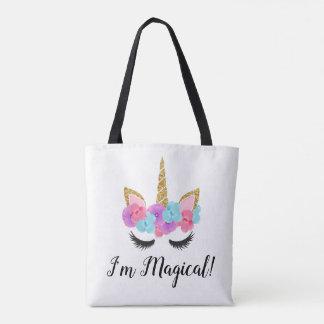 Flowers Gold Magical Unicorn Girls Tote Bag