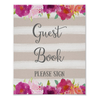 Flowers Guest Book Wedding Poster Print