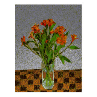 """""""Flowers In A Glass Vase"""" Postcard"""