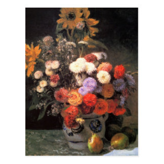 Flowers in a vase by Pierre Renoir Postcard