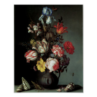Flowers in a Vase with Shells and Insects Poster