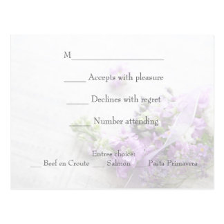 Flowers in lavender shades with music fade RSVP Postcard