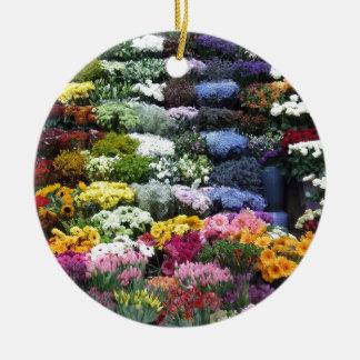 Flowers market round ceramic decoration