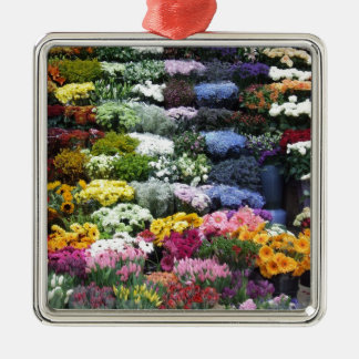 Flowers market Silver-Colored square decoration