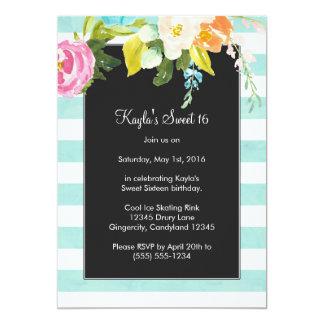 Flowers on Light Blue Stripes Sweet Sixteen Card