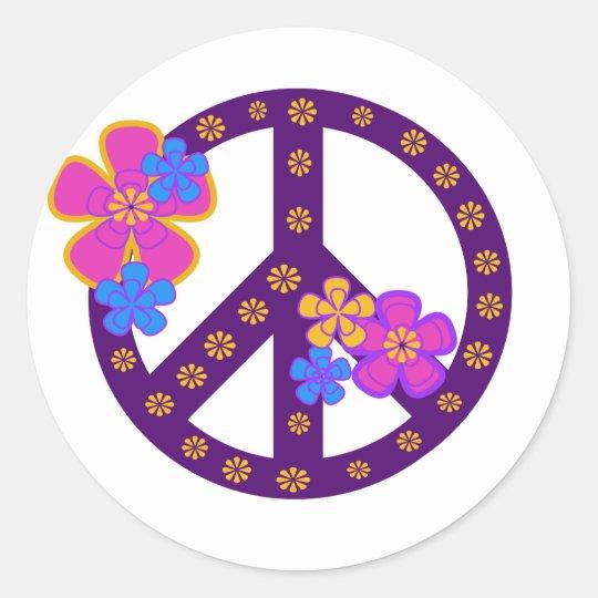 Flowers Peace Symbol Classic Round Sticker