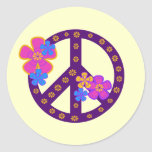 Flowers Peace Symbol T-shirts and Gifts Round Sticker