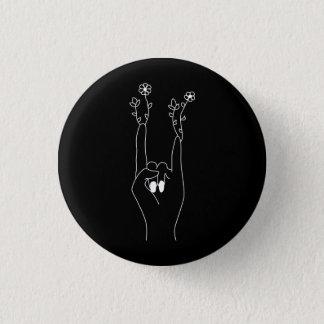 Flowers rock 3 cm round badge