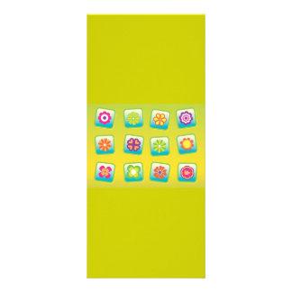 Flowers-Vectors COLOURFUL CARTOON PATTERNS Personalised Rack Card