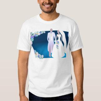 Flowers with Bride & Groom Tee Shirts
