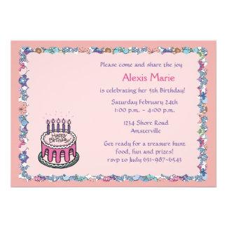 Flowery Border Birthday Party Invitation
