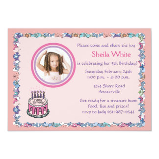 Flowery Border Photo Birthday Party Invitation