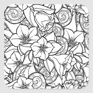 Flowery Zendoodle Square Sticker