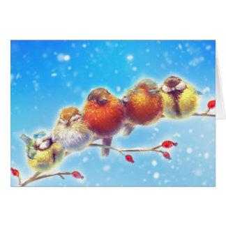 Fluffy Birds of Winter Card