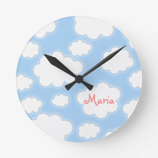 Fluffy Clouds Custom Name Personalized Round Clock