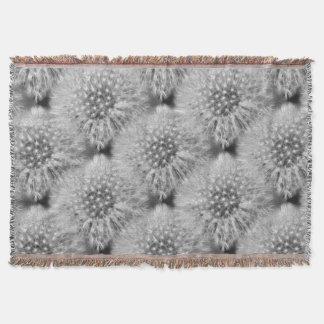 Fluffy Dandelion Flower Nature Art Pattern Throw Blanket