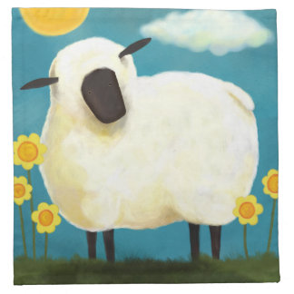 Fluffy Sheep and Yellow Flowers Napkins