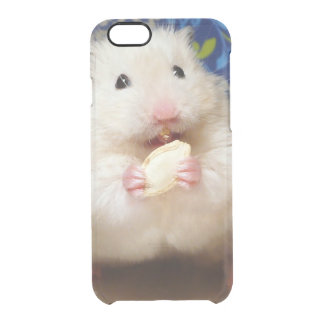 Fluffy syrian hamster Kokolinka eating a seed Clear iPhone 6/6S Case