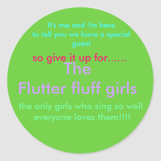 flutter fluff girls round sticker