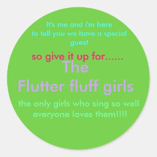 flutter fluff girls round stickers