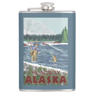 Fly Fisherman - Skagway, Alaska Hip Flask