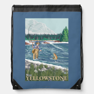 Fly Fisherman - West Yellowstone, Montana Drawstring Bag