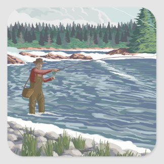 Fly FishermanNew Mexico Square Sticker