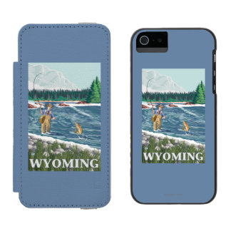 Fly FishermanWyomingVintage Travel Poster Incipio Watson™ iPhone 5 Wallet Case