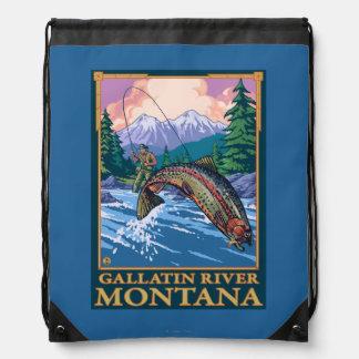 Fly Fishing Scene - Gallatin River, Montana Drawstring Bag