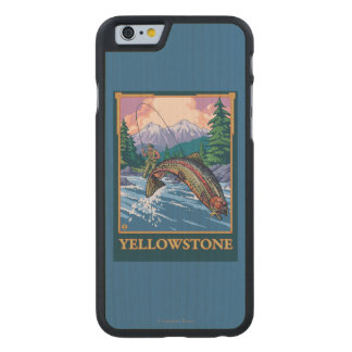 Fly Fishing Scene - Yellowstone National Park Carved Maple iPhone 6 Case