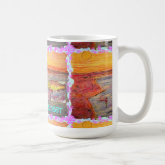 fly fishing sunset Art Coffee Mug