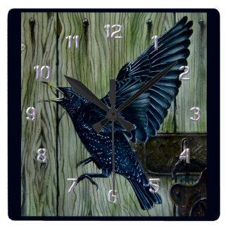 Fly Past Blackbird Square Wall Clock