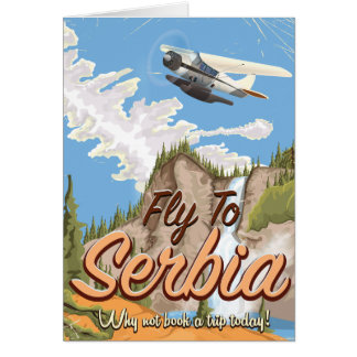 Fly To Serbia Cartoon Travel poster Greeting Card