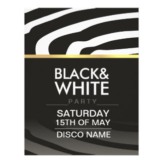 flyer for disco party theme with black and white