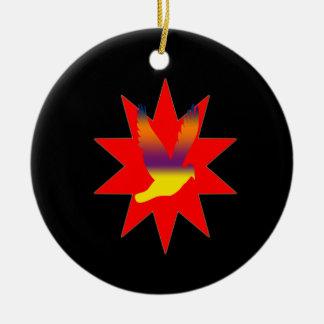 Flying Bird on Red Star Ornament