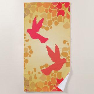 Flying Birds on Petals in Autumn Colors Beach Towel