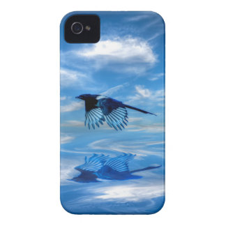 Flying Blue Magpie & Reflected Sky iPhone 4 Case