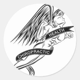 Flying Chiropractic Angel Classic Round Sticker