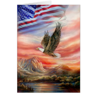 Flying Eagle with Sunset and American Flag Card